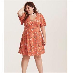 Torrid Floral Print Flutter Sleeve Dress NWOT